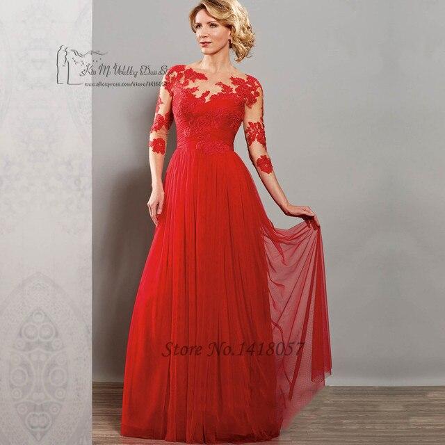 Vestido de Madrinha 2016 Rot Lila Lange Spitze Mutter der Braut ...
