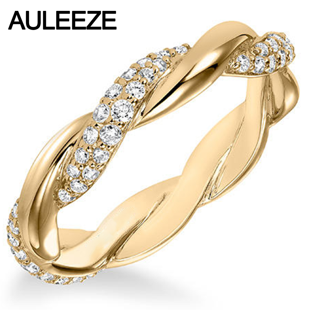 contemporary pave natural real diamond twisted band solid 14k yellow gold wedding anniversary ring for women - Contemporary Wedding Rings