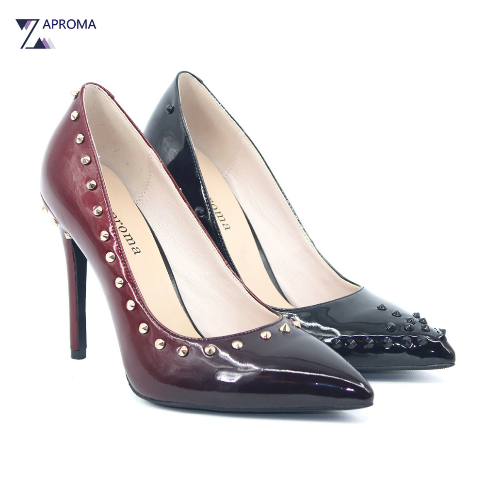 Women Rock Stud Shoes Red Gradient Slip On Super High Heel Sexy Pumps 2018 Spring Black Punk Party Rivet Shallow Thin Heel Shoes цена
