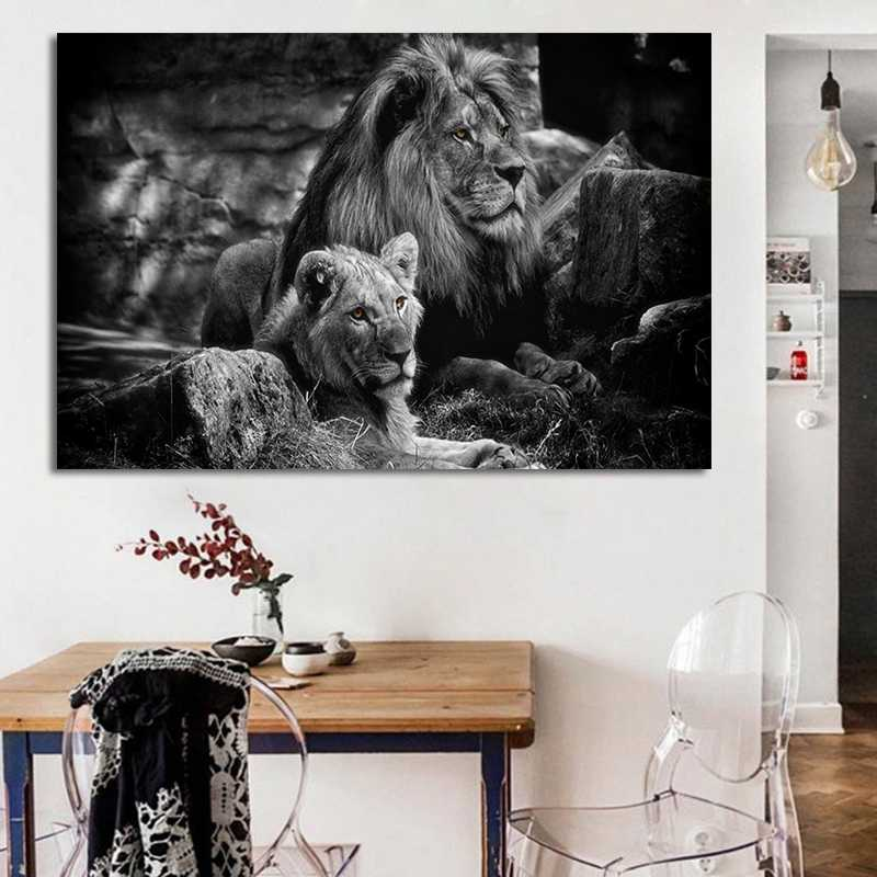Wall Art Poster Modern cuadros Black White Animal Lion Wall Pictures Print Poster on Canvas for Living Room Decor No Frame