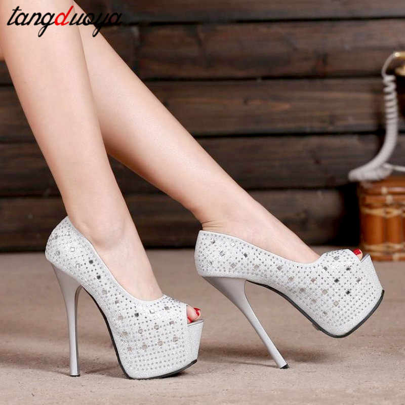 Bling Bling chaussures pour femmes talons hauts pompes plate-forme chaussures femmes strass pompes parti chaussures bout ouvert talons hauts szpilki damsk