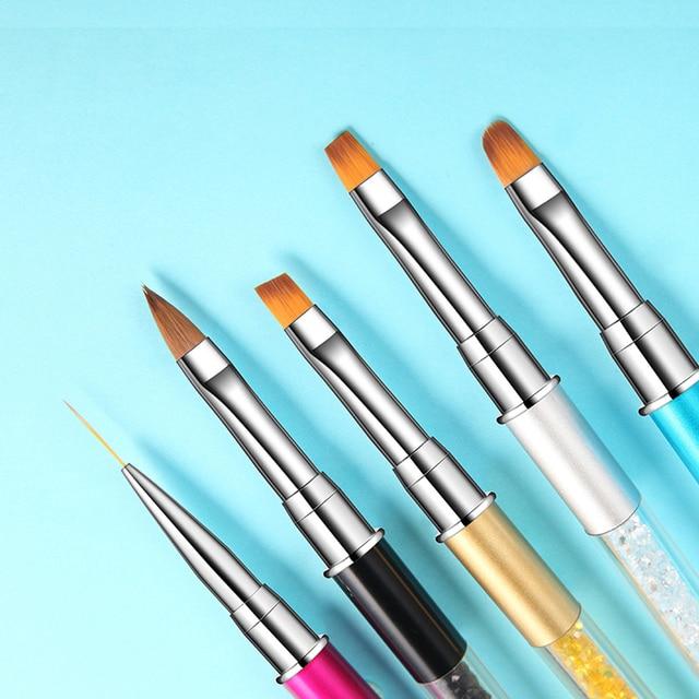 ROHWXY Nail Brush Rhinestone Handle Drawing UV Gel Pen Manicure Nail Art Brush Gradient Painting Pen Acrylic GEL Extension Pen 2