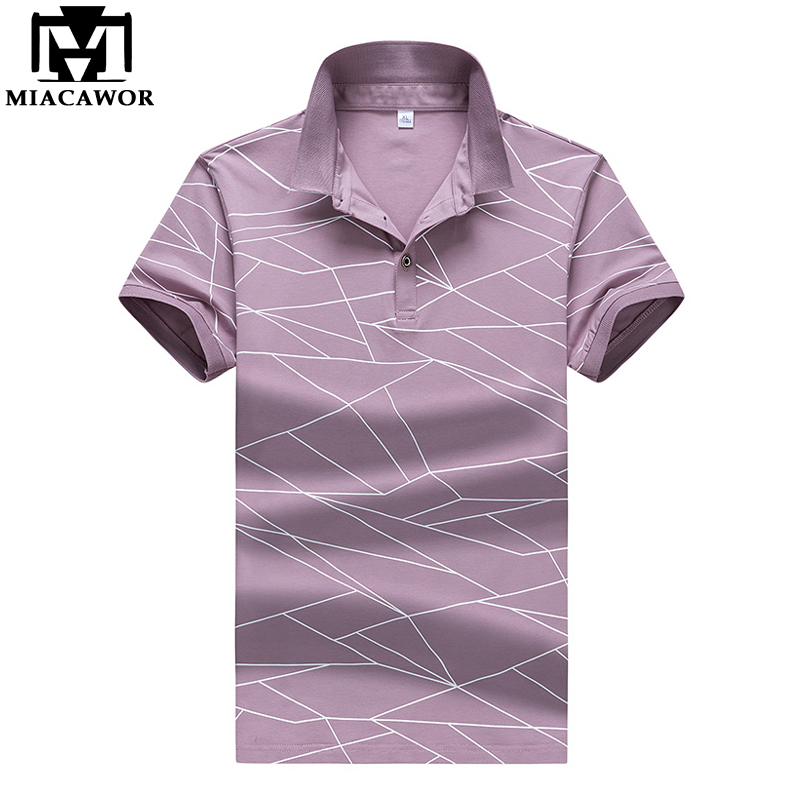 MIACAWOR New British Style Fashion Print Men   Polo   Shirt Cotton Summer Short-sleeve   Polo   Homme Casual Men   polo   MT649