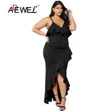 ADEWEL Black/Red Plus Size  High Low Irregular Party Maxi Dress Women Sexy Spaghetti Strap Ruffle Bodycon Cocktail Dresse 5XL