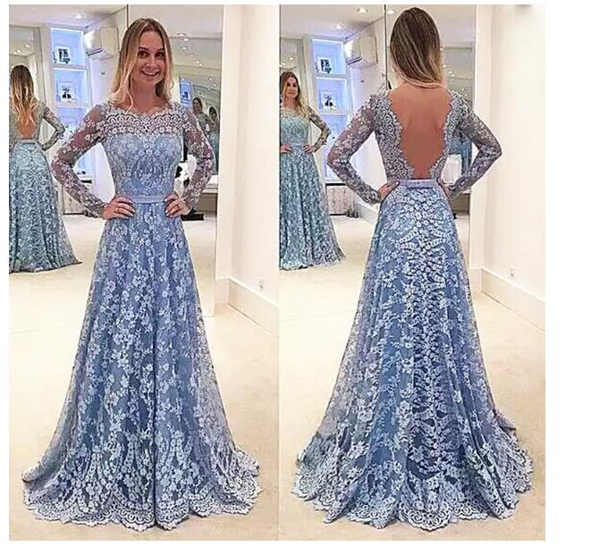 Long Sleeve Lace   Bridesmaid     Dresses   2018 Illusion Flower Wedding Party   Dress   Backless Brides Maid Of Honor   Dresses   vestido Q017