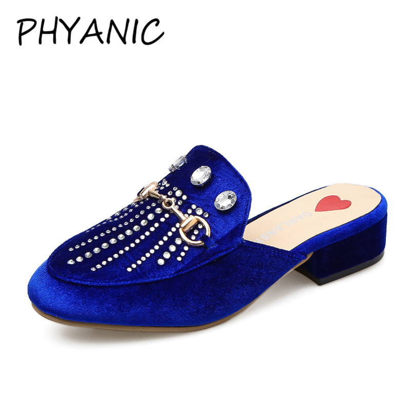 PHYANIC Brand New 2018 Spring Rhinestone Tassels Flat Slippers Women Shoes Slip On Loafers Mules Suede Slides PHY3127