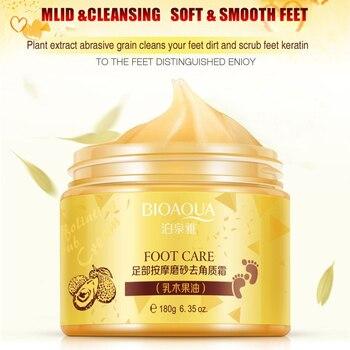 BIOAQUA Foot Massage Scrub Exfoliating Cream Repai Rough Skin Whitening Smooth Moisturizing Anti Wrinkle Feet Care Cream 180g bioaqua exfoliante para pies