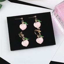 Korean INS Cartoon Cute Sweet Peaches Woman Girl Clip Drop Dangle Earrings Fashion Jewelry-LAF
