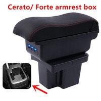 Für KIA Cerato Forte armlehne box auto styling PU Leder zentralen Speicher inhalt box kia armlehne box mit tasse halter USB interfac-in Armlehnen aus Kraftfahrzeuge und Motorräder bei