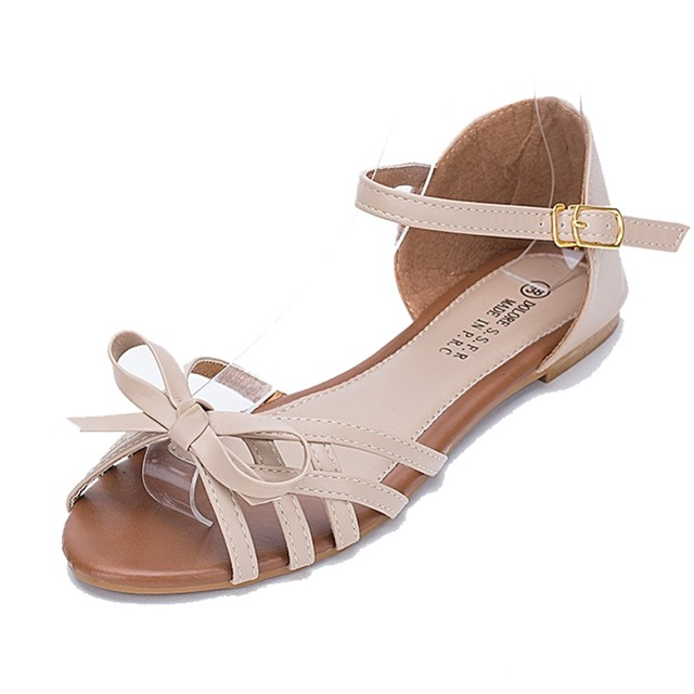 6b529e26f26bf9 Fashion Sandals Women Sandal New Causal Shoes Summer Flat Metal Plus Size Women  Flat Sandals Leather Slippers Womens