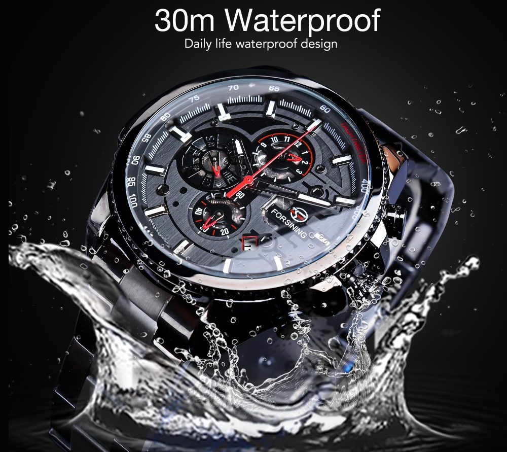 Forsining Three Dial Calendar Stainless Steel Men Mechanical Automatic Wrist Watches Top Brand Luxury Military Sport Male Clock