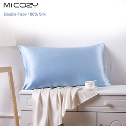 100% Mulberry Silk Two Sides Silk Pillowcase Charmeuse Satin Pillow Cover Invisiable Zipper Closure