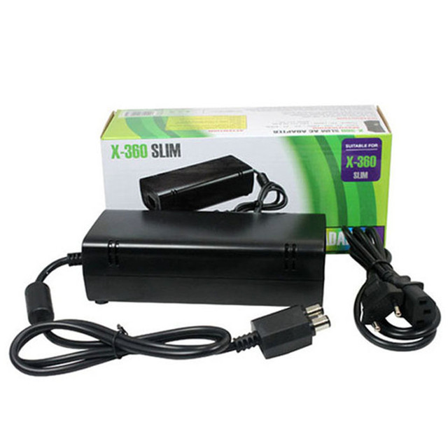 Factory price High Quality Hot Selling Brand New AC Adapter Power Supply Cord Charger for XBOX 360 Slim Black Free Shipping