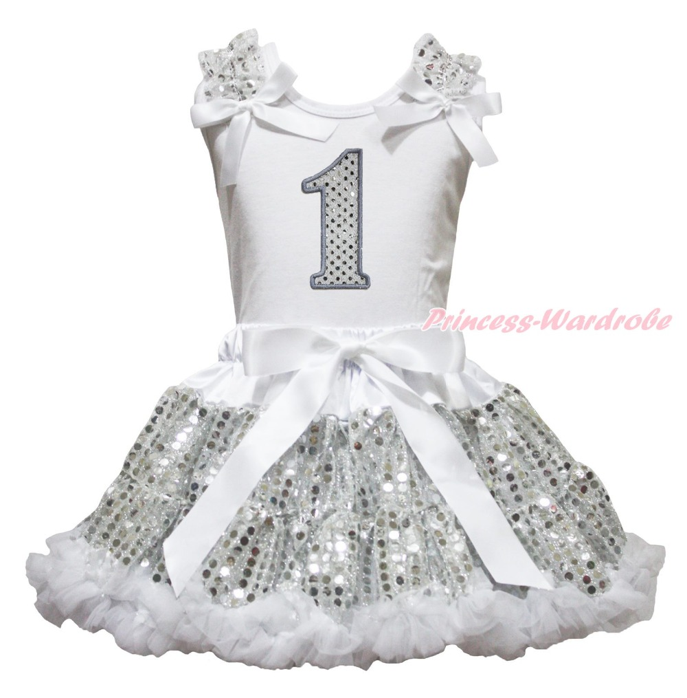 Birthday 1ST 2ND 3RD 4TH 5TH 6TH White Sleeveless Top Girls Bling Sequin Skirt Outfit 1-8Y easter sparkle 3rd hot pink white dot top rainbow stripe skirt set 1 8y mamh170