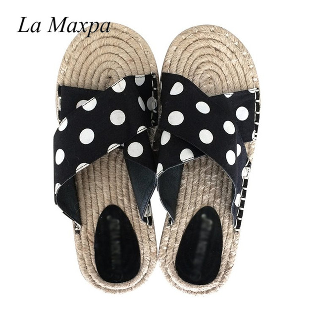 d74220f0d09aac Summer Shoes Women Sandals Sexy Black Strip Polka Dots Slippers Fashion  Wide Full Leg Shoes Cotton Farbic Flip Flop Flat Sandals