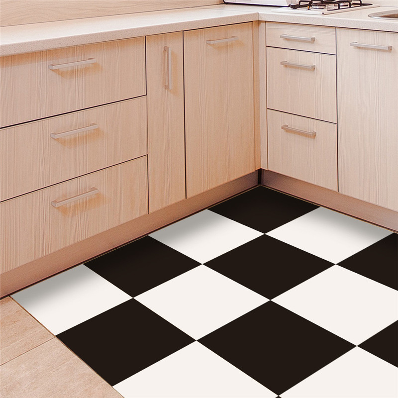Black white grid style PVC floor sticker Bedroom Study Room waterproof non slip wear resistant floor