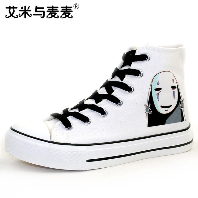 Unisex Japan Anime Spirited Away Custom Hand Painted Shoes No Face Man  Canvas Sneakers for Gifts A51703 650989973