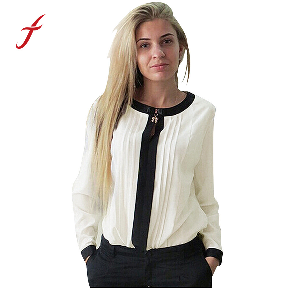 Feitong 2018 Women Casual Loose Chiffon Pleated Blouse ...