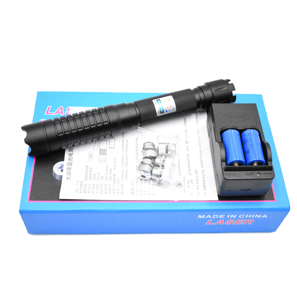 High Power Most Powerful Military <font><b>450nm</b></font> <font><b>Blue</b></font> <font><b>Laser</b></font> sight <font><b>Pointer</b></font> Pen Adjustable Focus Burning Paper Matches and firecrackers image