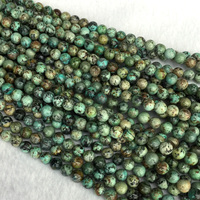 Wholesale Natural Blue Green Africa Turquoise Round Loose Stone Beads 6mm 12mm Fit Jewelry 15 05460