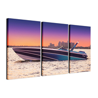 3 Pieces Painting Yacht Boat Sea Sunset Painting Modern Picture Poster H D Printing Wall Art