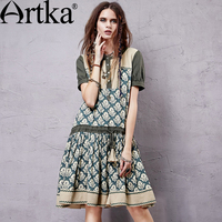 Artka Women S Summer New Catalonia Series Printed Embroidery Dress O Neck Short Sleeve Dropped Waist