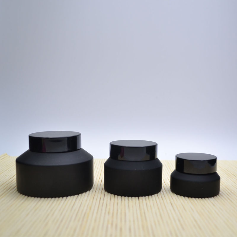 10Pcs Frosted Black Glass Cosmetic Jar Bottle With Black Lid for Concealer Face Cream Glass Cosmetic Package for DIY 30g 50g 12pcs 20g amber glass cream jars cosmetic packaging with lid black plastic caps