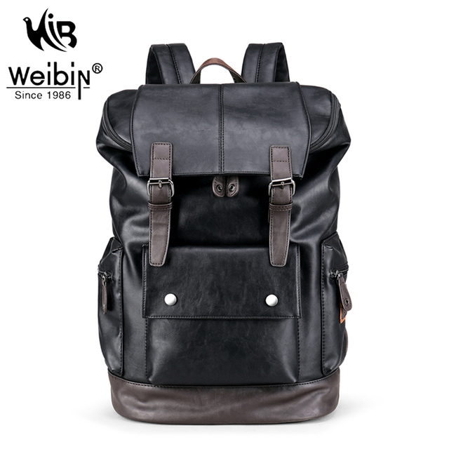 Weibin Male Functional Bags Fashion Men Backpack Big Capacity PU Leather Men School Backpacks For Boys Business Travel mochila