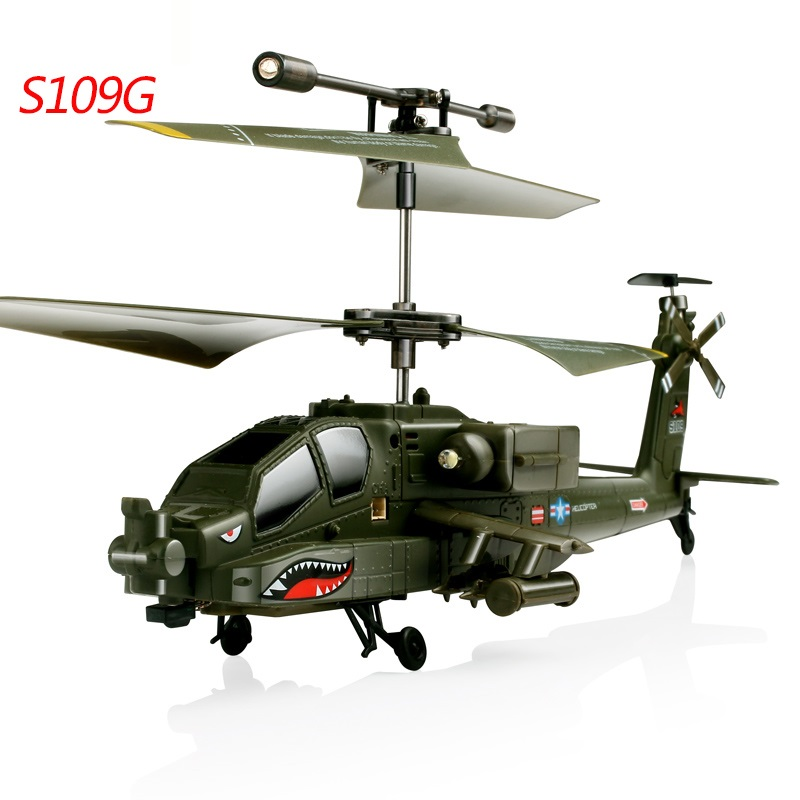 Mini  RC Helicopter S109G Beast AH-64 Helicopter Gunships Simulation Indoor Radio Remote Control Toys RTF toy for kid best Gifts simulation mini golf course display toy set with golf club ball flag