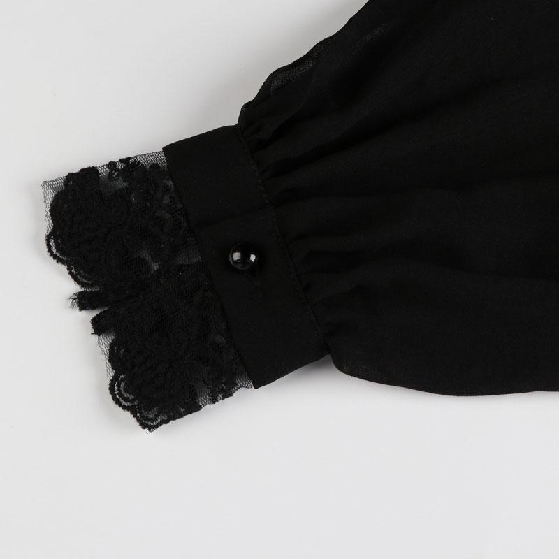 HDY Women Black Sheer Blouse Shirts Lantern Sleeve Bow Tie Lace up Sexy Lady Shirts Bowknot Elegant Female Tops Blusas Femininos 14