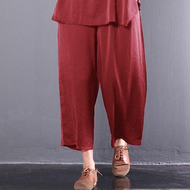 Celmia Femmes Jambe Large Pantalon Taille Élastique Lâche Occasionnel  Solide Pantalon Femelle Respirant 2018 Coréenne Style c9ff27d43c6