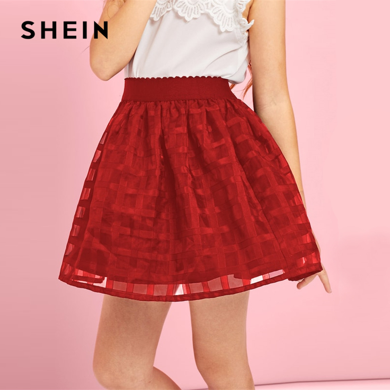 SHEIN Kiddie Burgundy Mesh A Line Cute Girls Skirts 2019 Spring Korean Fashion Elegant Mini Skirt Girl Ball Gown Kids Skirts женская футболка other 2015 3d loose batwing harajuku tshirt t a50