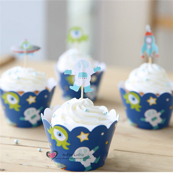 Lot of 12 Alien Cupcake Toppers!