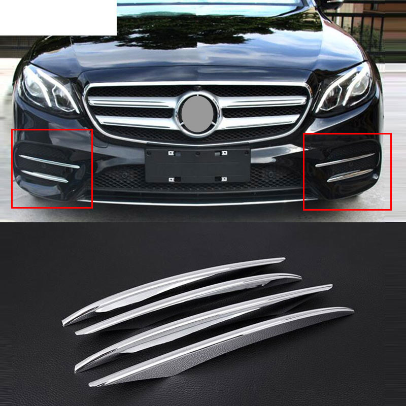 4pcs ABS Chrome Front Fog Lamp Cover Trim For <font><b>Mercedes</b></font> <font><b>Benz</b></font> E Class <font><b>W213</b></font> E200 E300 2016 2017 2018 2019 E43 AMG Car <font><b>Accessories</b></font> image