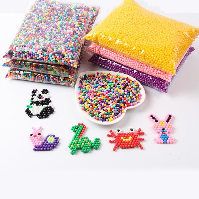 36 Colors 6000pcs / Set DIY Water Spray Magic Aquarium Beads Manual 3D 5mm Hama 500g Refill Wholesale Spell Replenish Beads Toys