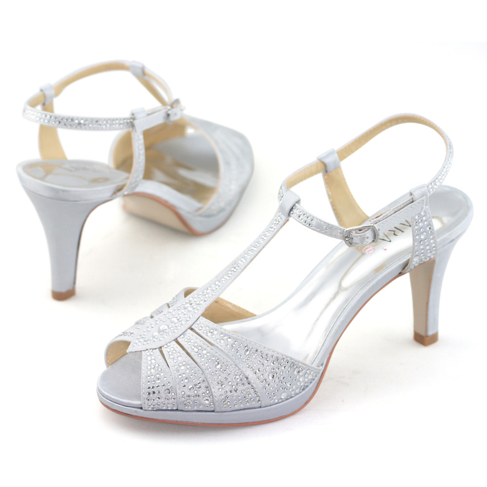 067d5287abf LARAs brand women peep toe t bar strapy high heel sandals diamante  rhinestone satin wedding white silver ladies high heels pumps on  Aliexpress.com
