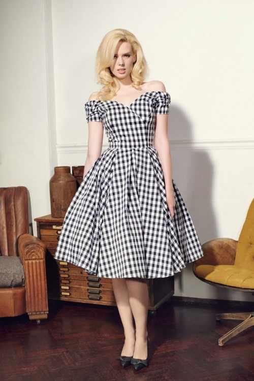 ... 30- summer women vintage 50s gingham off shoulder boat neck swing dress  rockabilly pinup vestidos ... 68bc2f2a190d