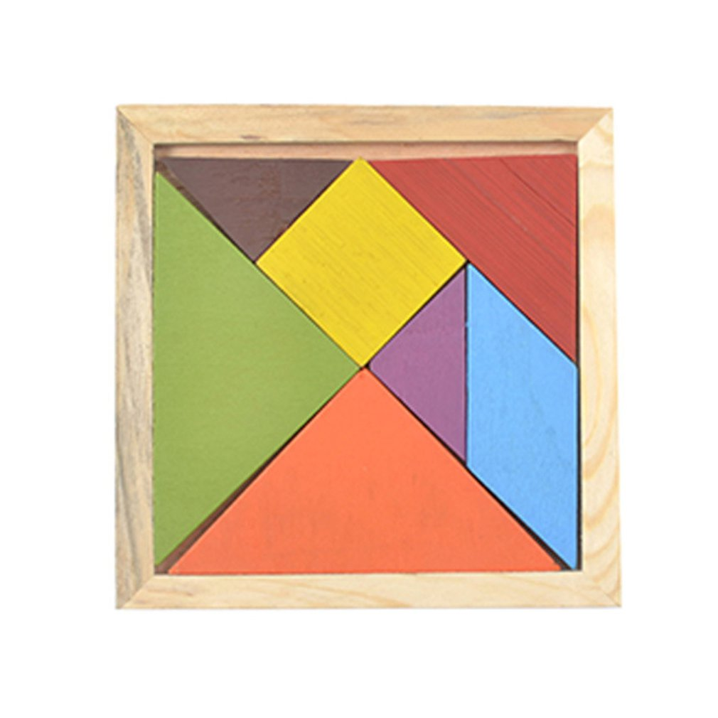 Tangram Wooden Color Diy Puzzle Jigsaw Building Blocks Toys ChildrenS Educational