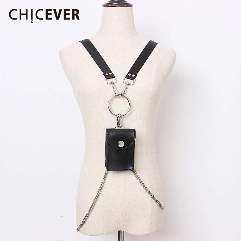 CHICEVER PU Chain Bag Patchwork Belt Female High Waist Summer 2019 Vintage Clothing Accessories Belts For Women Fashion New Tide