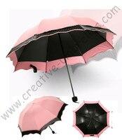 6pc/lot colour option summer folding mini sunny umbrella 5 times black coating Anti-UV Meat Pink two layers lace parasol