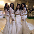 Fashion Two Pieces Bridesmaids Dresses High Neck Long Sleeve Lace Formal Gowns Sweep Train Long Maid Of Honor Dresses