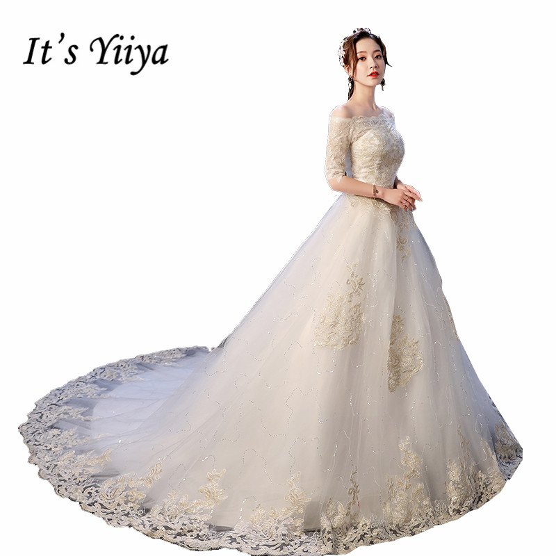 It's YiiYa Wedding Dress Boat Neck Gold Lace Embroidery Wedding Ball Gowns Half Sleeve Lace Up Train Bridal Dresses XXN235
