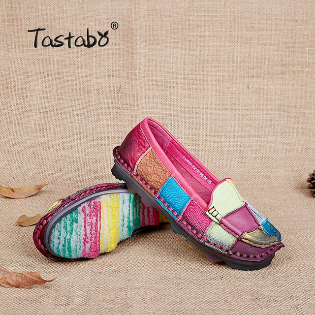 Tastabo Leather Autumn  Pregnant Women Shoes Female Moccasins Women Losers Casual Shoes Flats Plus Size Shoes Women