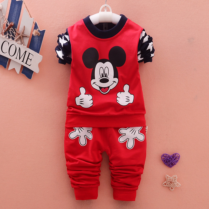 2017 New Baby Boys and Girls Fall Winter Clothes for Cute Cartoon Print Long Sleeve Jacket + Pants Cotton Clothing