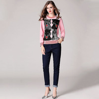 2018 Winter Paillette Bee Tiger Head Jacquard Knitting Sweaters Pullovers Women Long Sleeve Sequin planet Pink Jumper Clothing