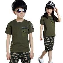 Adolescente Menino meninas 2pc exército verde casuais ternos Do Esporte estilo escola de Verão roupa Dos Miúdos 4 para 12 15 anos conjunto de Roupas infantis
