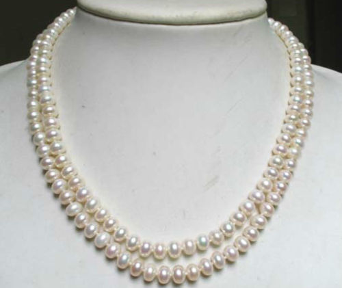 huij 001590 necklace 2 strands white freshwater pearl 8mm rondelle beads
