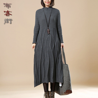 High Quality Causal Turtleneck Knitted Dresses Women 2017 New Spring Autumn Winter Knit Sweater Mid Long