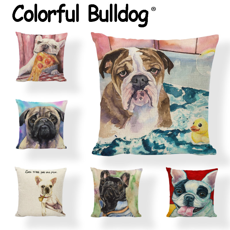 Oil Painting French Bulldog Cushion Cover Pug Little Yellow Duck 43*43cm Pink Bow Table Cake Pillow Case Decor Home Living Room