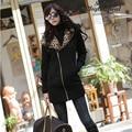 Mujeres de la moda Otoño Abrigo de Invierno 2016 de Manga Larga Casual Leopard Con Capucha Sudaderas Con Cremallera de Las Señoras Outwear Chaqueta casaco feminino